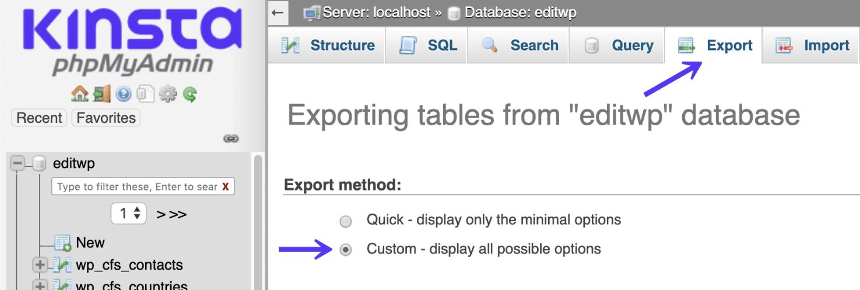 Esportazione personalizzata in phpMyAdmin