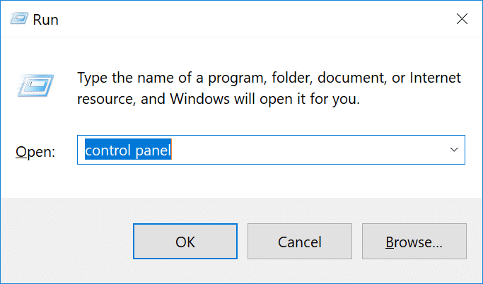 Eseguire Control Panel in Windows