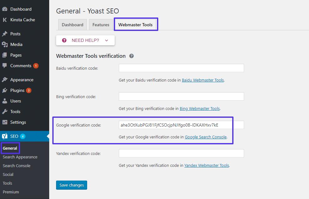 Verifica del sito Google su Yoast SEO