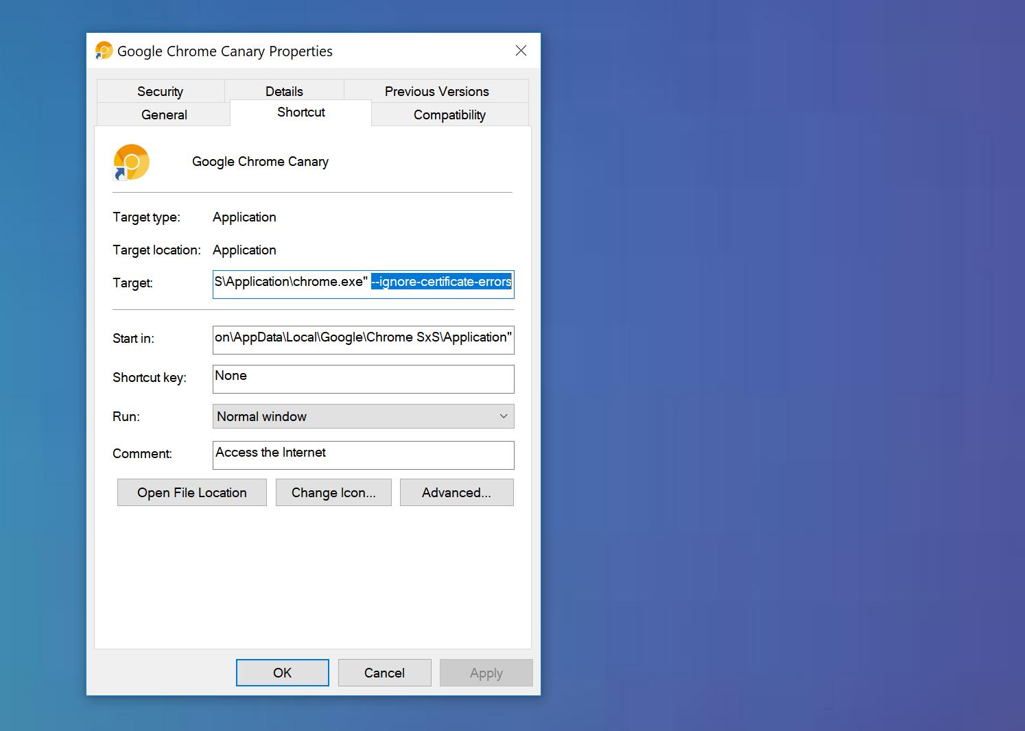 Chrome ignora gli errori del certificato