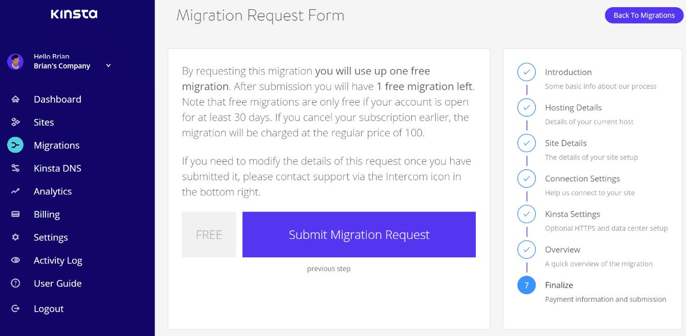 Conclusione richiesta migrazione
