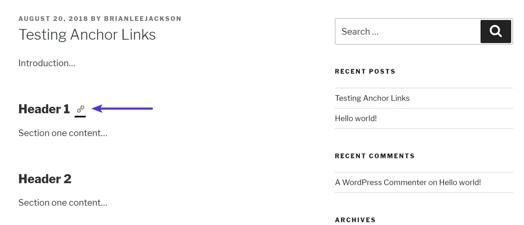 Link di ancoraggio automatici sugli header