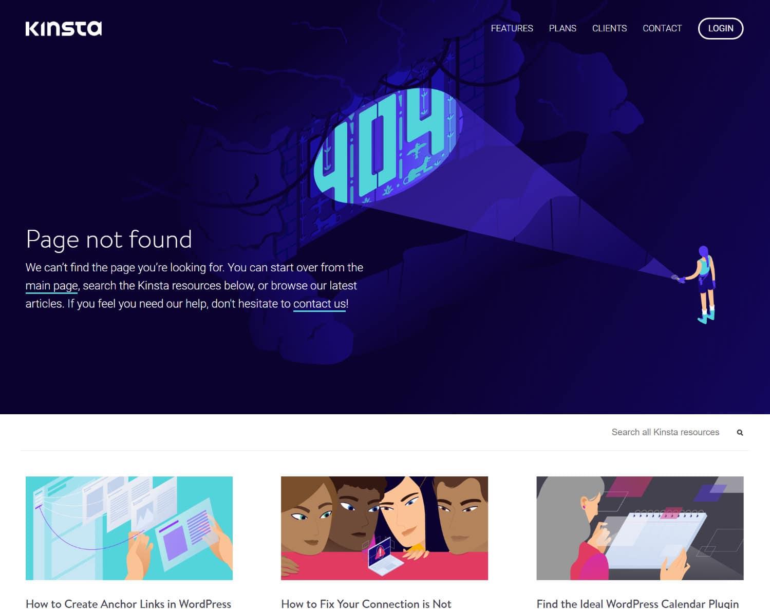 Pagina 404 di Kinsta
