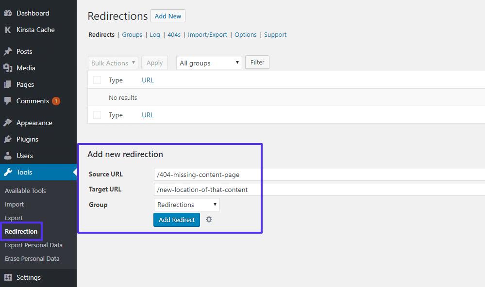 Come impostare i redirect con il plugin Redirection