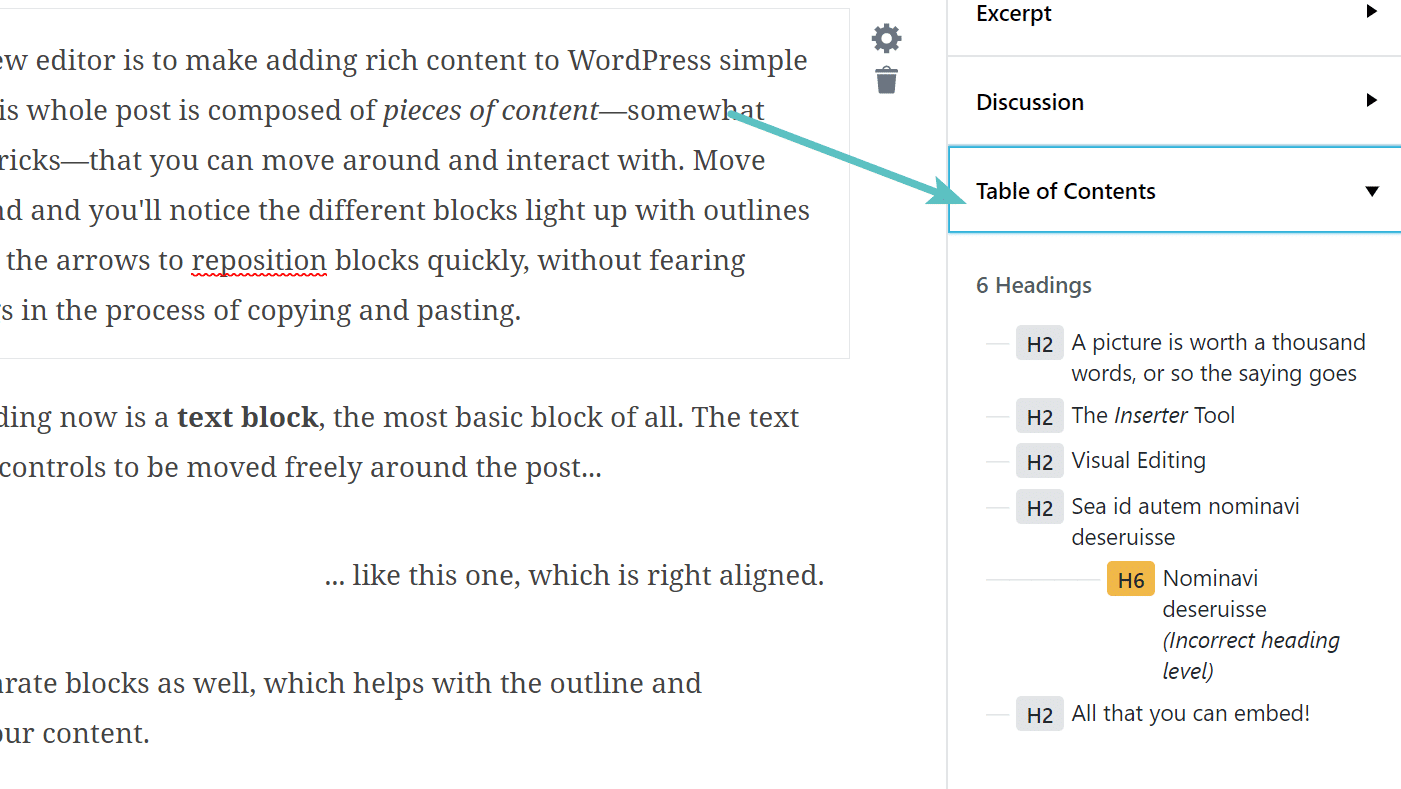 Struttura del documento in Gutenberg