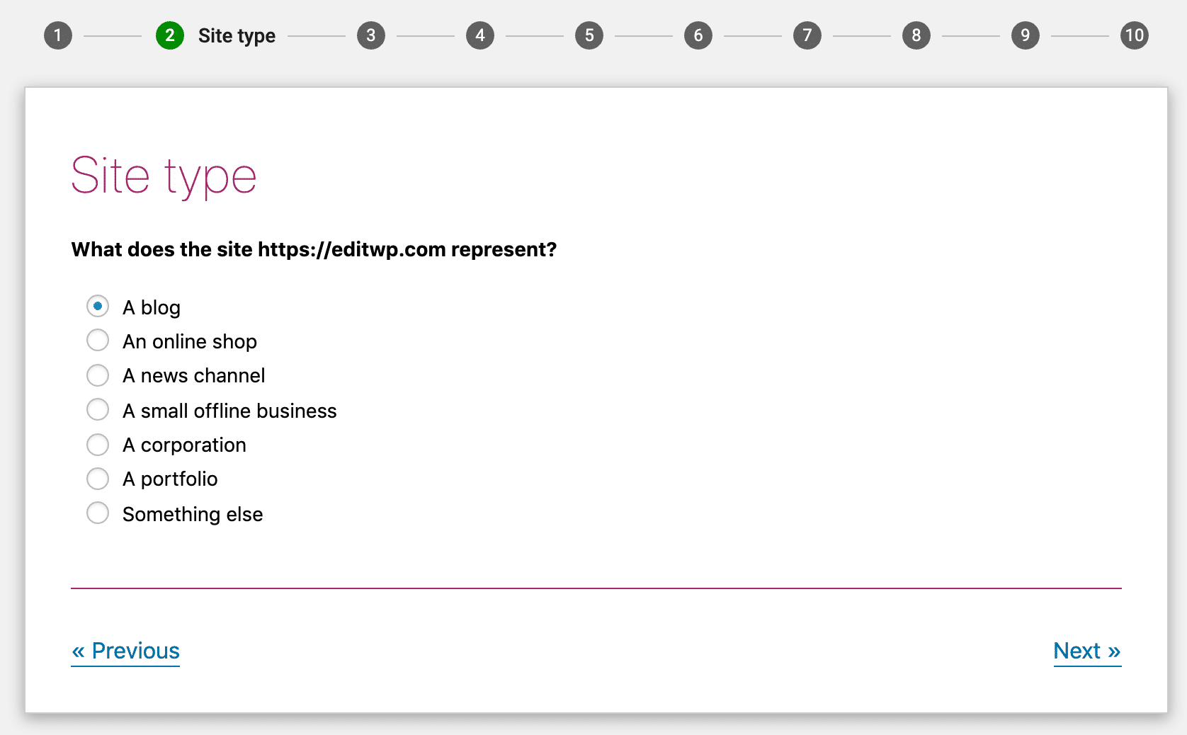 Scegliete l'opzione che si adatta maggiormente al vostro sito