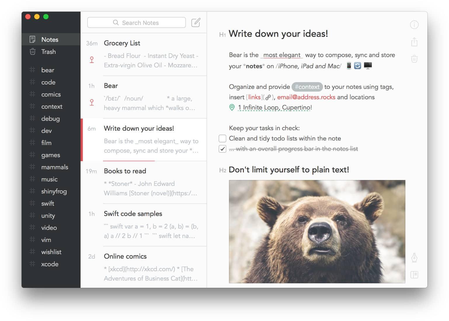 App di Bear writer