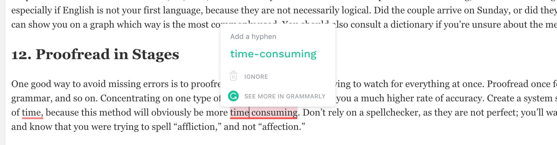 Esempio di Grammarly
