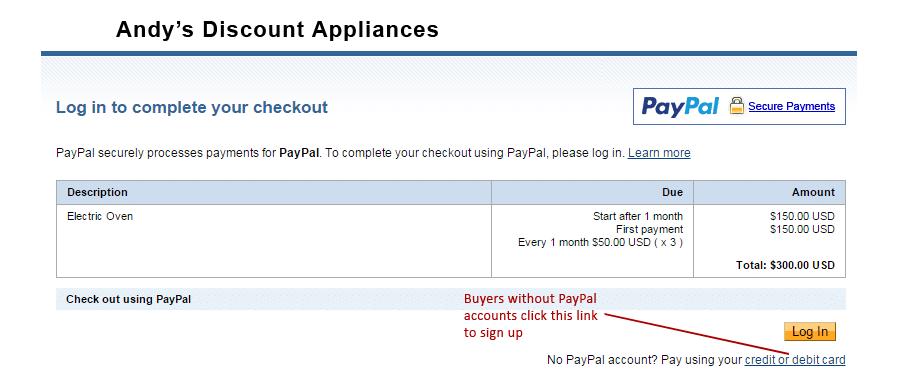Piano di pagamento PayPal