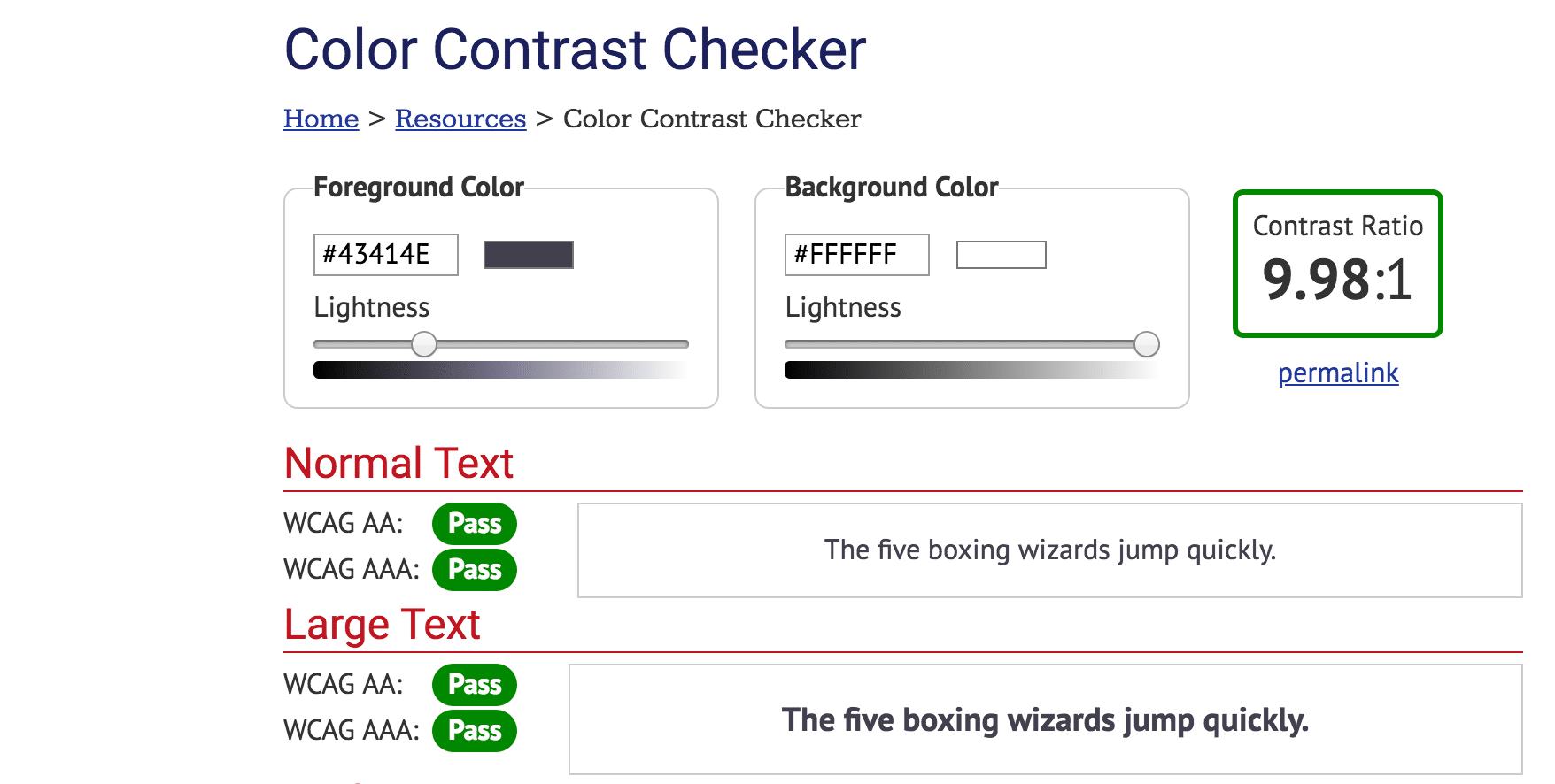 Strumento per la verifica del contrasto del colore
