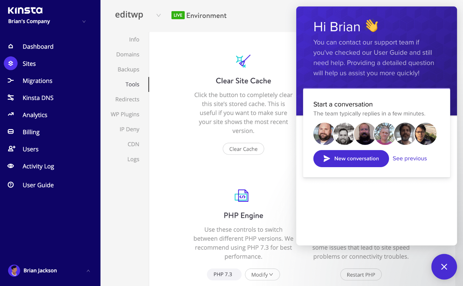 Supporto hosting WordPress di Kinsta