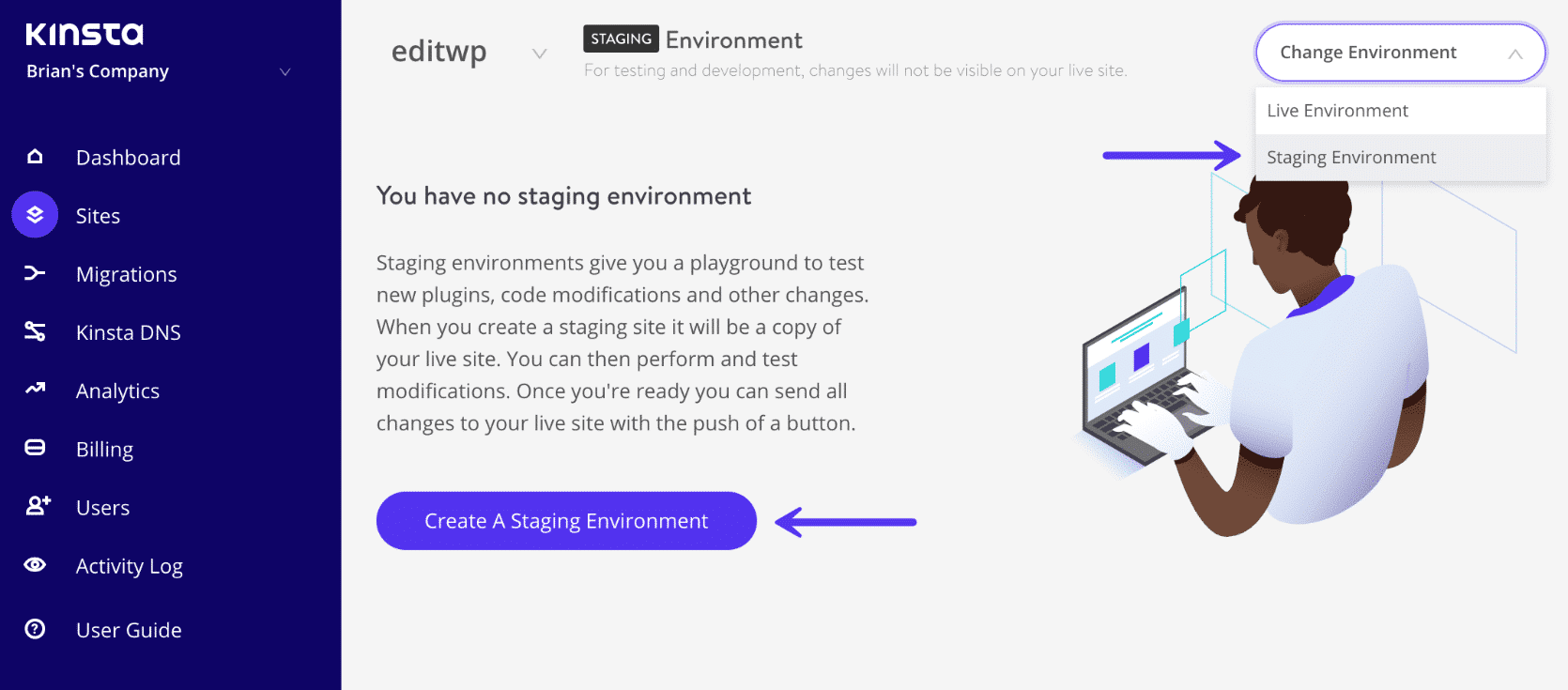 Ambiente di staging di WordPress