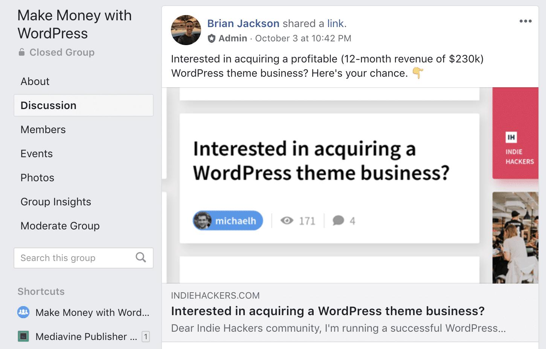 Attività WordPress in vendita