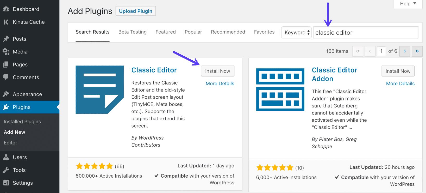 Installazione del plugin di WordPress Classic Editor