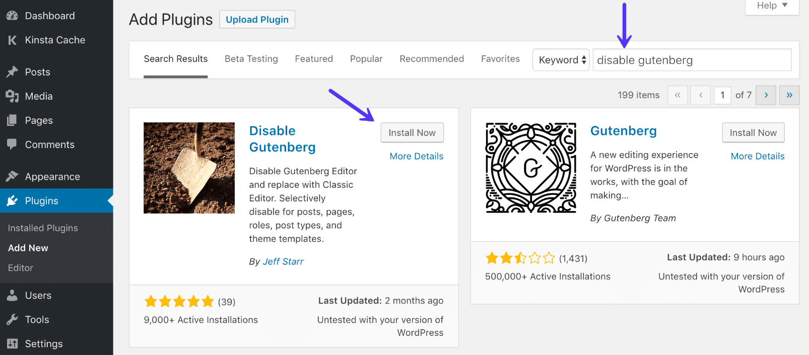 Installazione del plugin di WordPress Disable Gutenberg