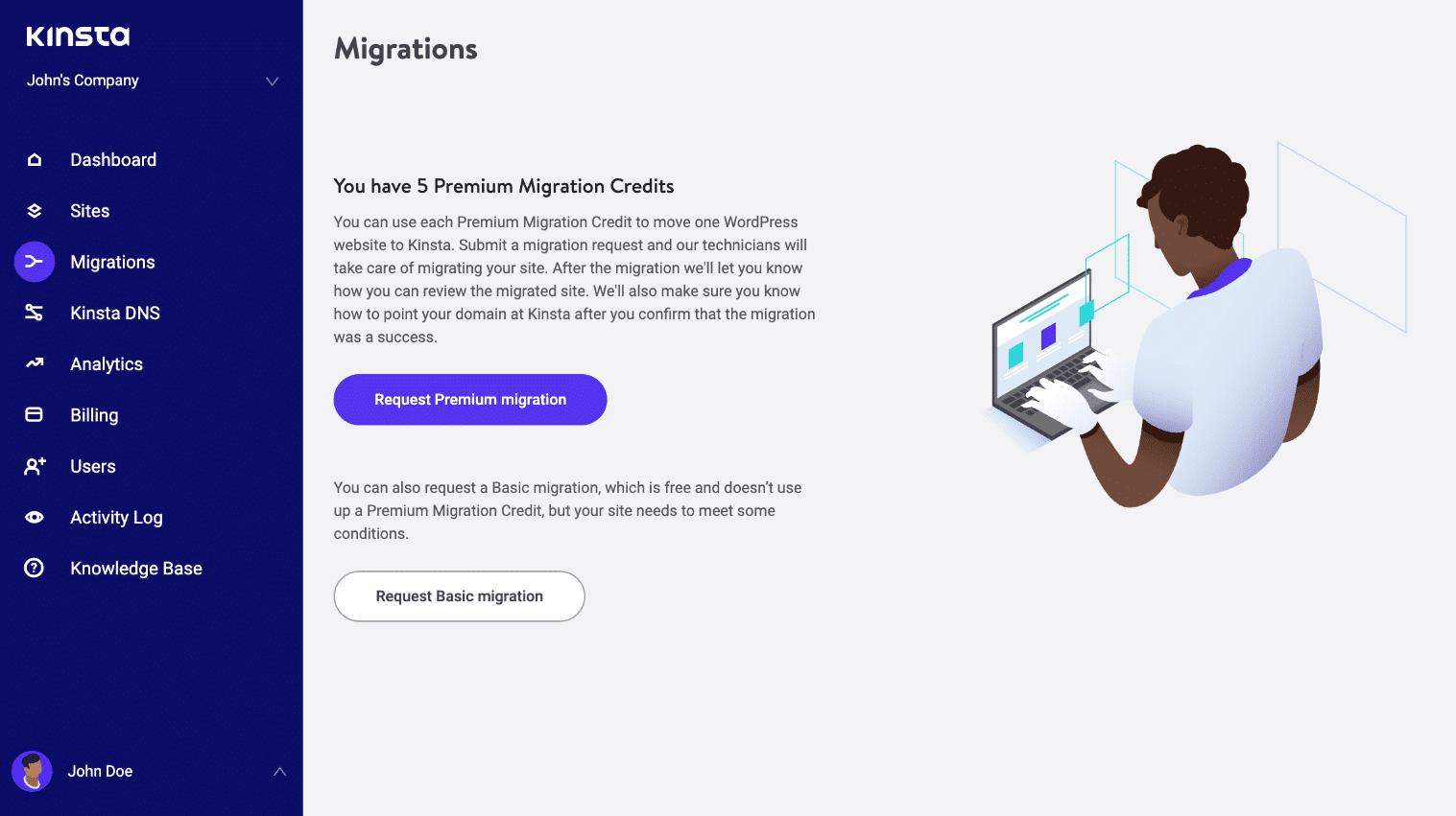 Invia richiesta migrazione WordPress