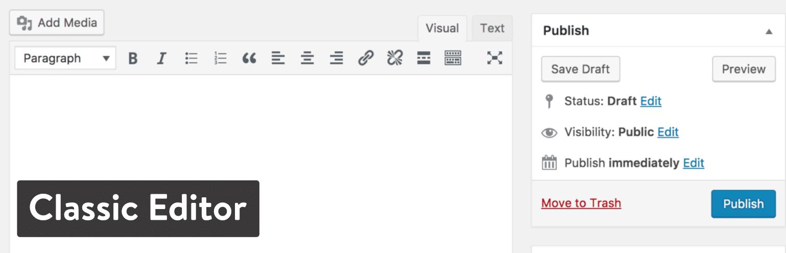 Il plugin di WordPress Classic Editor