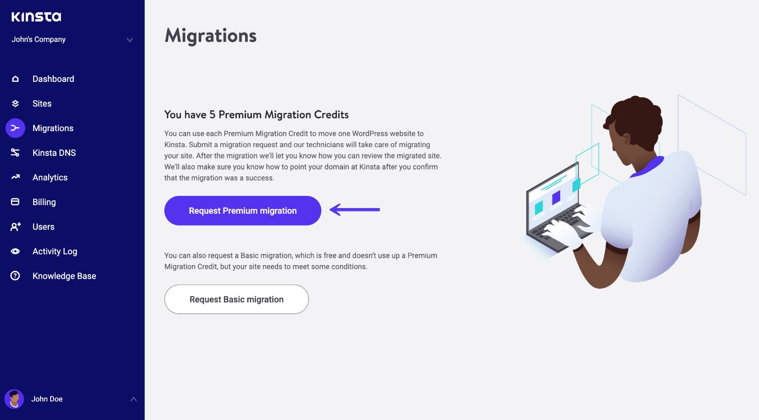 Richiedere una migrazione premium di WordPress