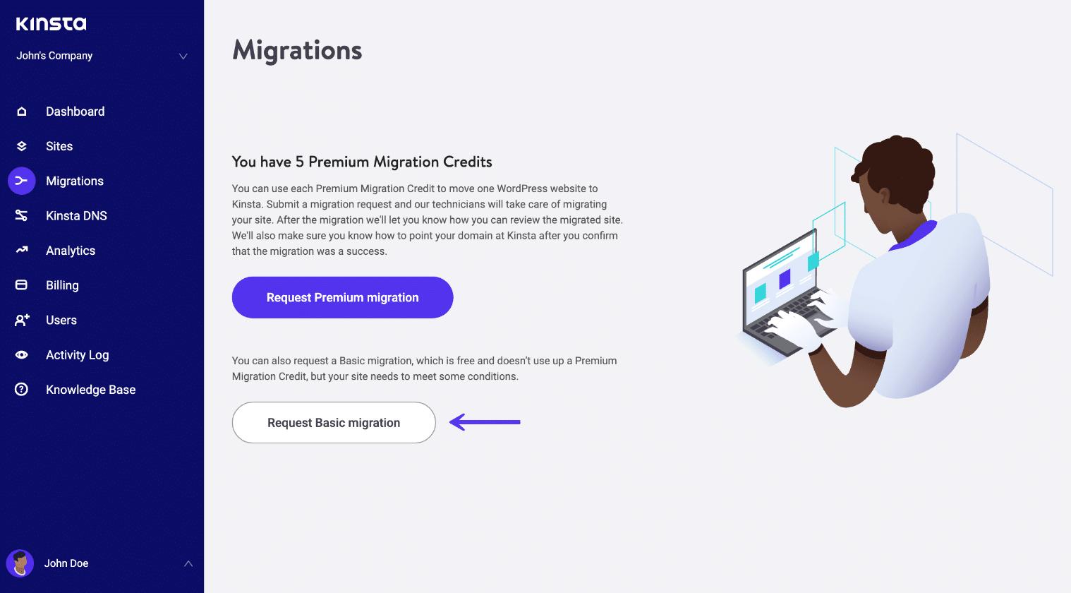 Richiedere una migrazione base di WordPress