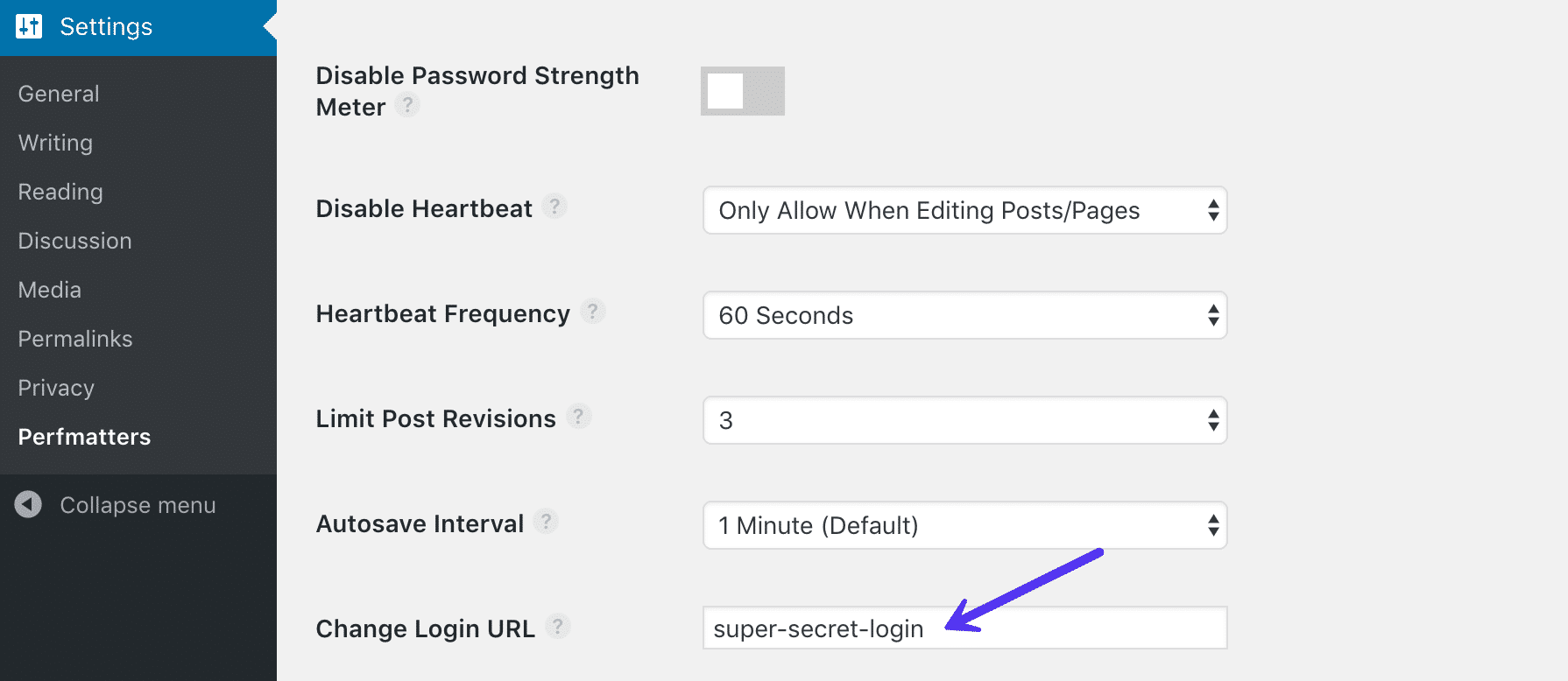 Cambiare l'URL di accesso a WordPress in Perfmatters