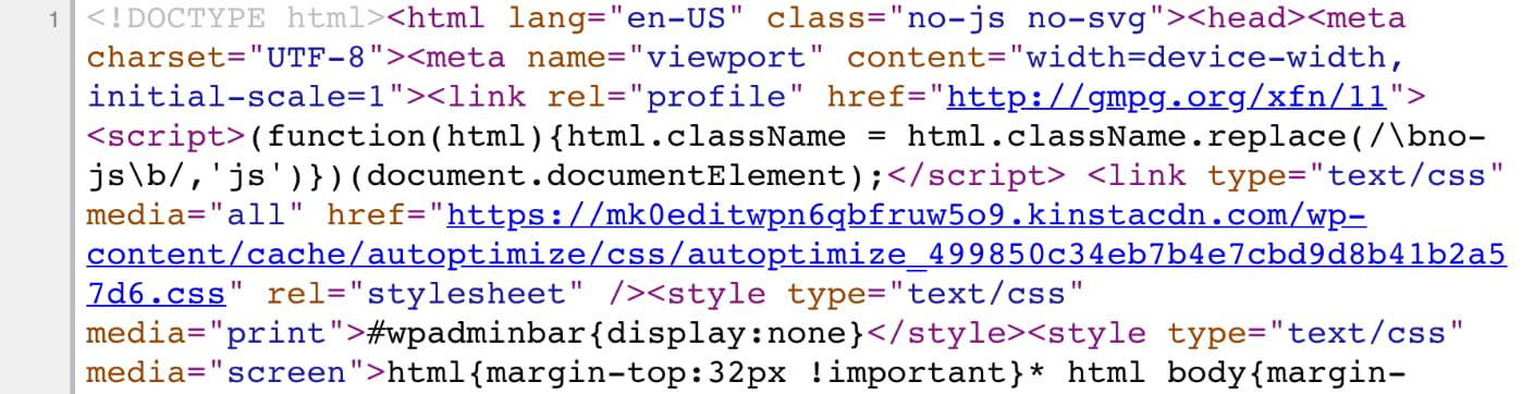 Codice HTML minimizzato