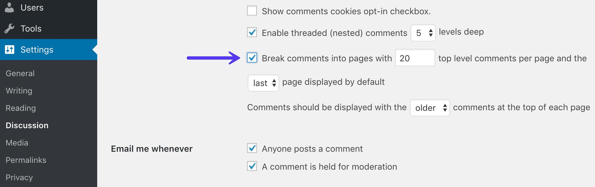 Dividi i commenti in pagine