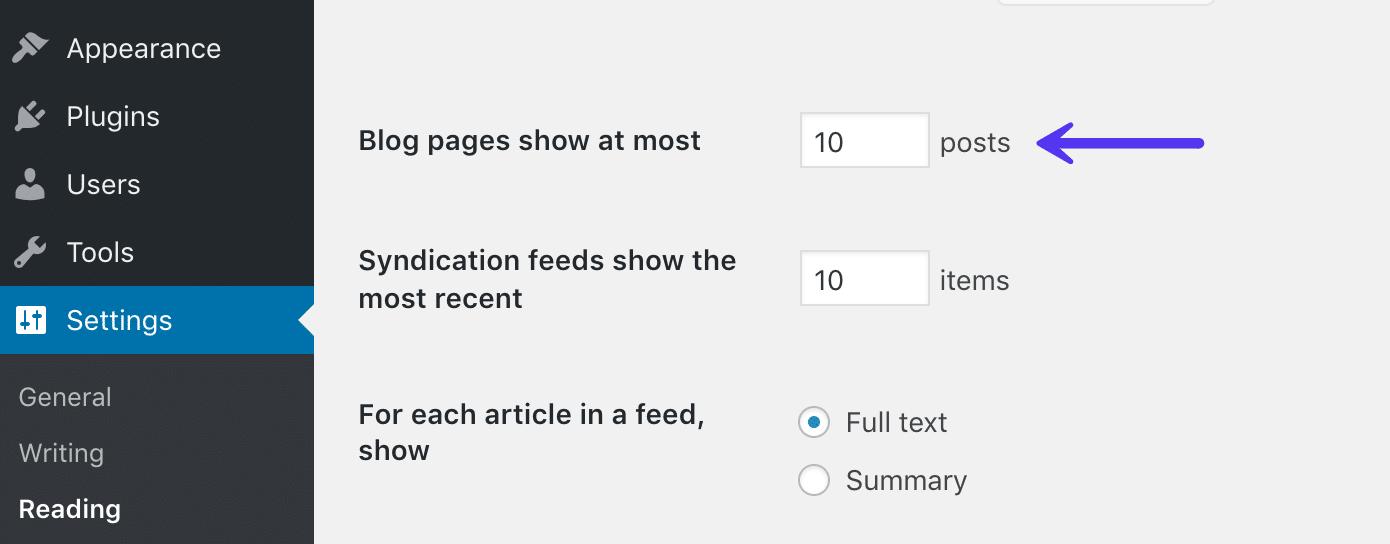 Limitazione del feed del blog in WordPress