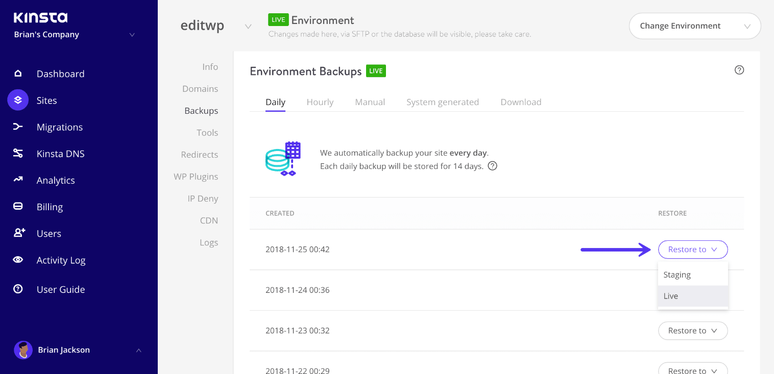 Ripristinare un Backup di WordPress