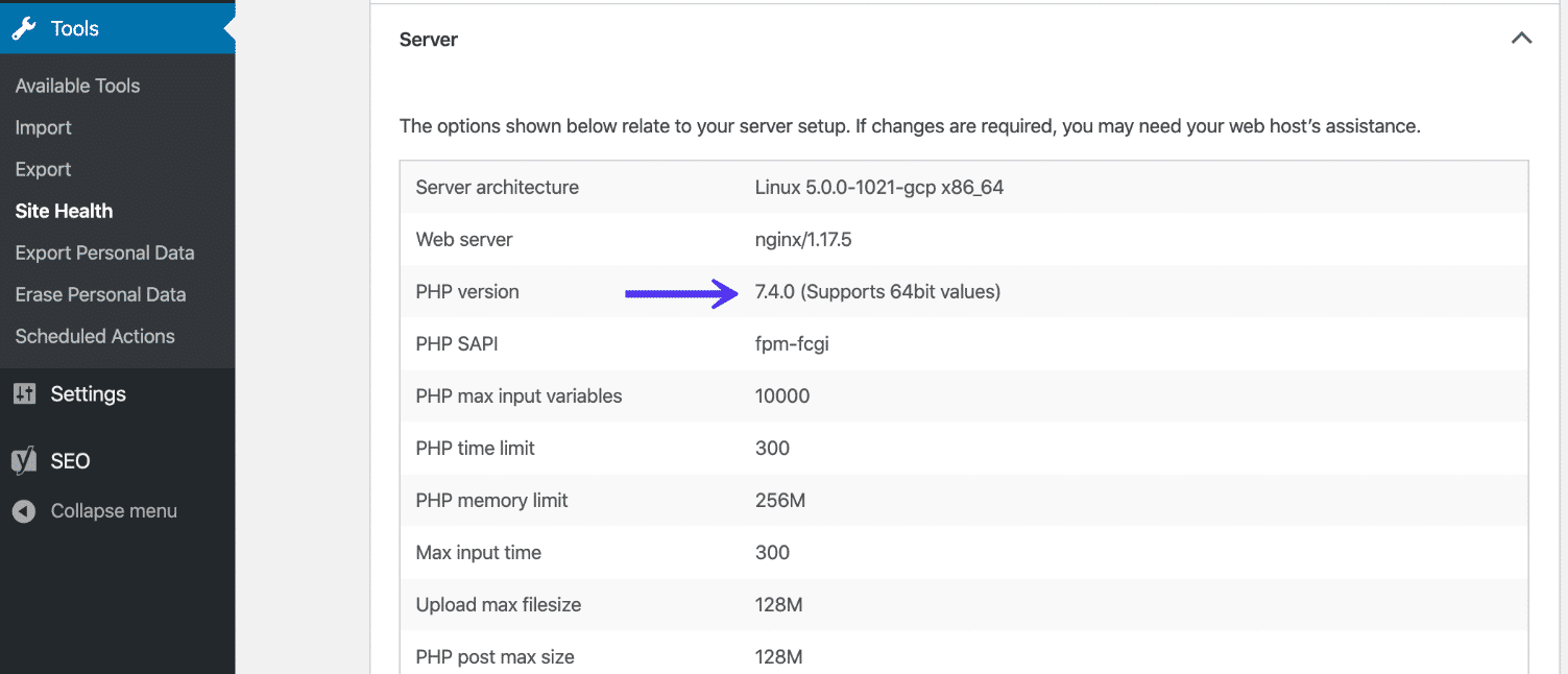 Versione PHP in Salute del Sito di WordPress