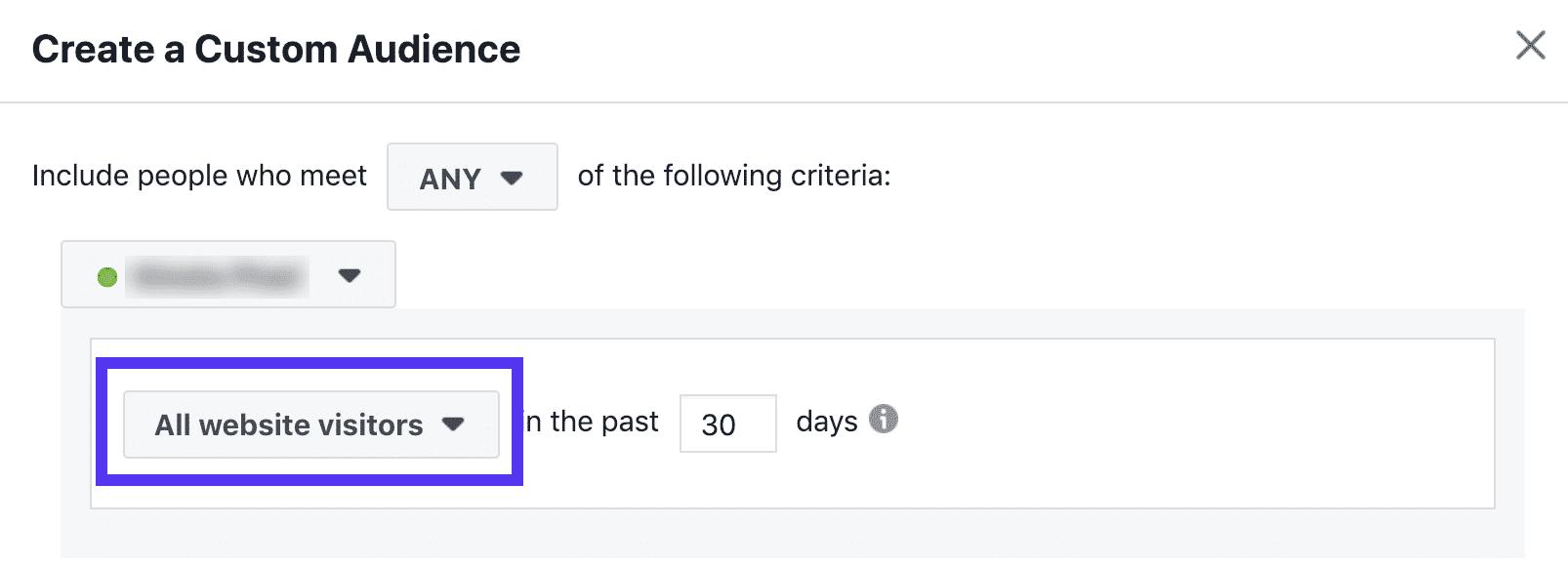 Audience di retargeting in Facebook - ultimi 30 giorni