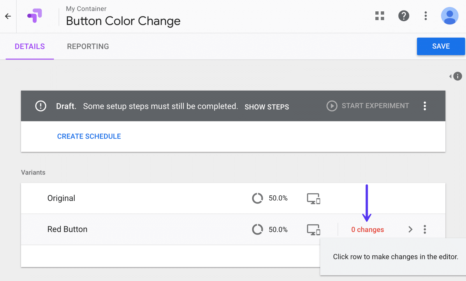 Cambiare variante in Google Optimize