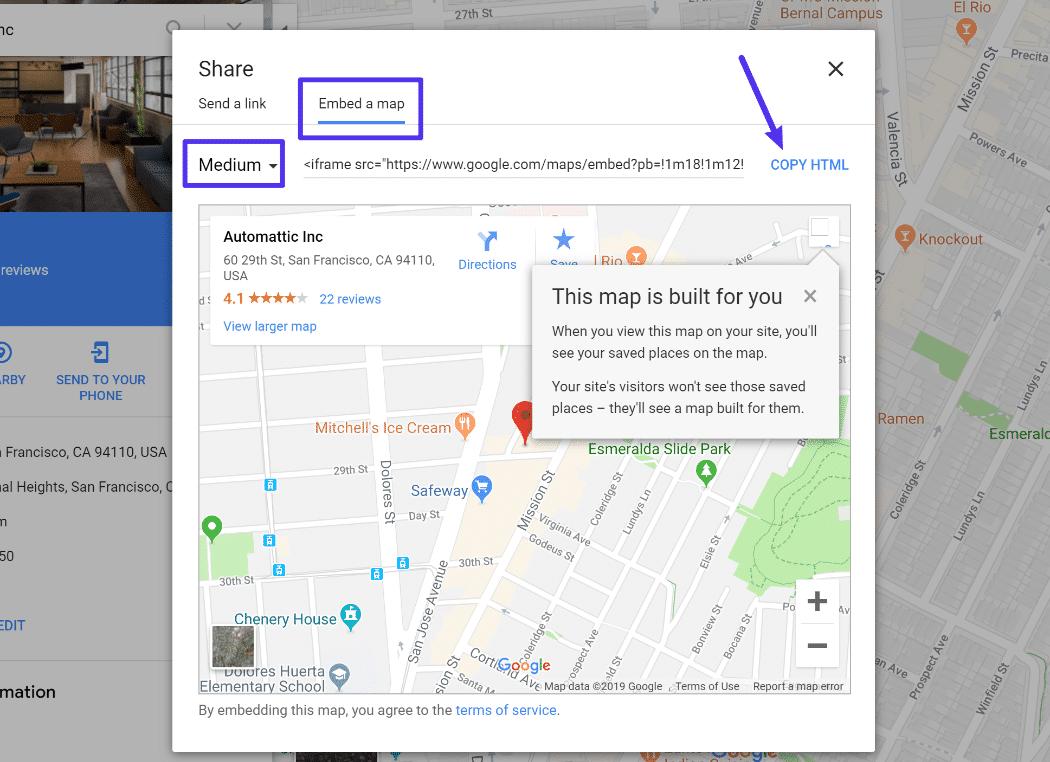 Il codice da incorporare di Google Maps