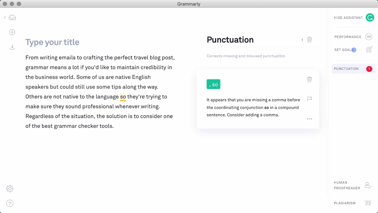 Grammarly app per Mac
