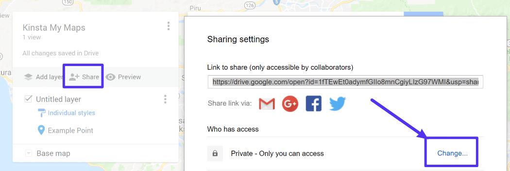 Impostazioni di Condivisione di Google My Maps
