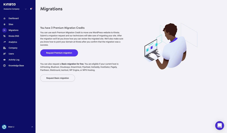 Richiedere una migrazione WordPress.