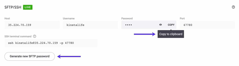 Copiare negli appunti e generare una nuova password SFTP.