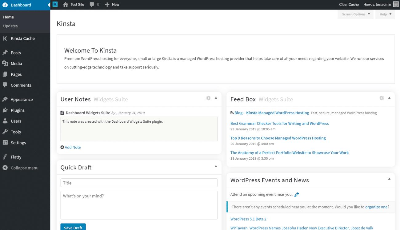 Flatty, tema di amministrazione WordPress