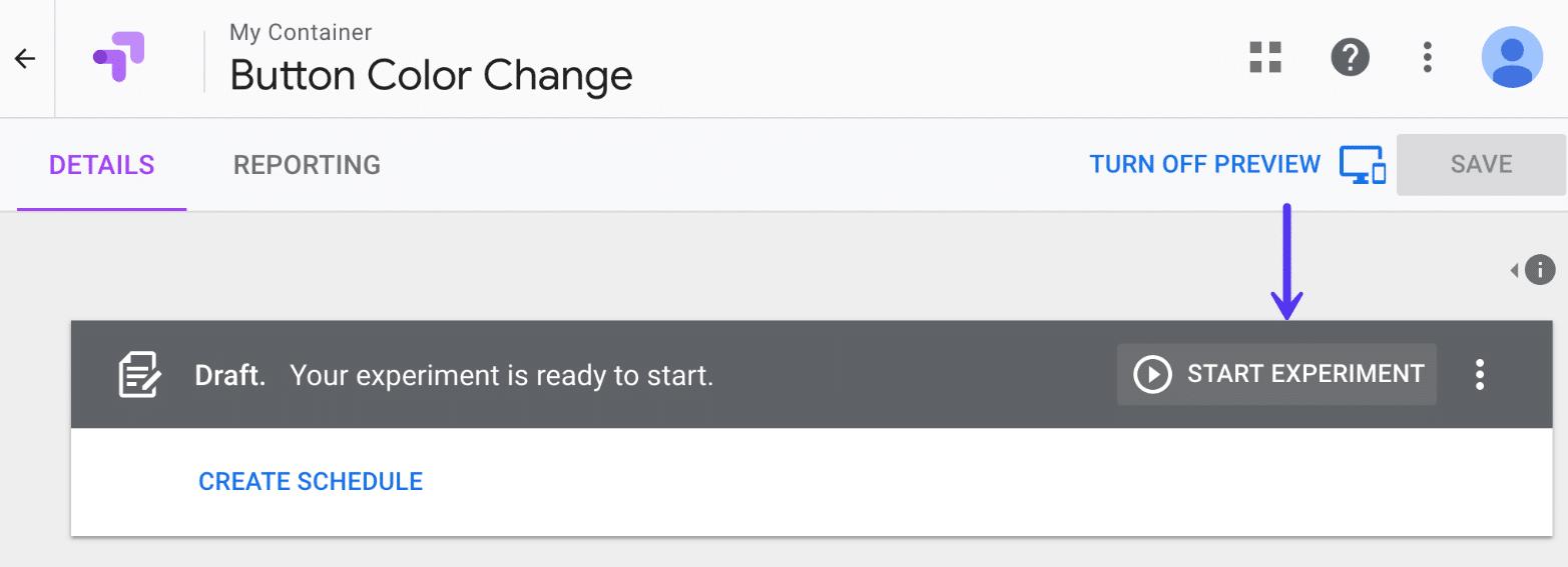 Start experiment in Google Optimize