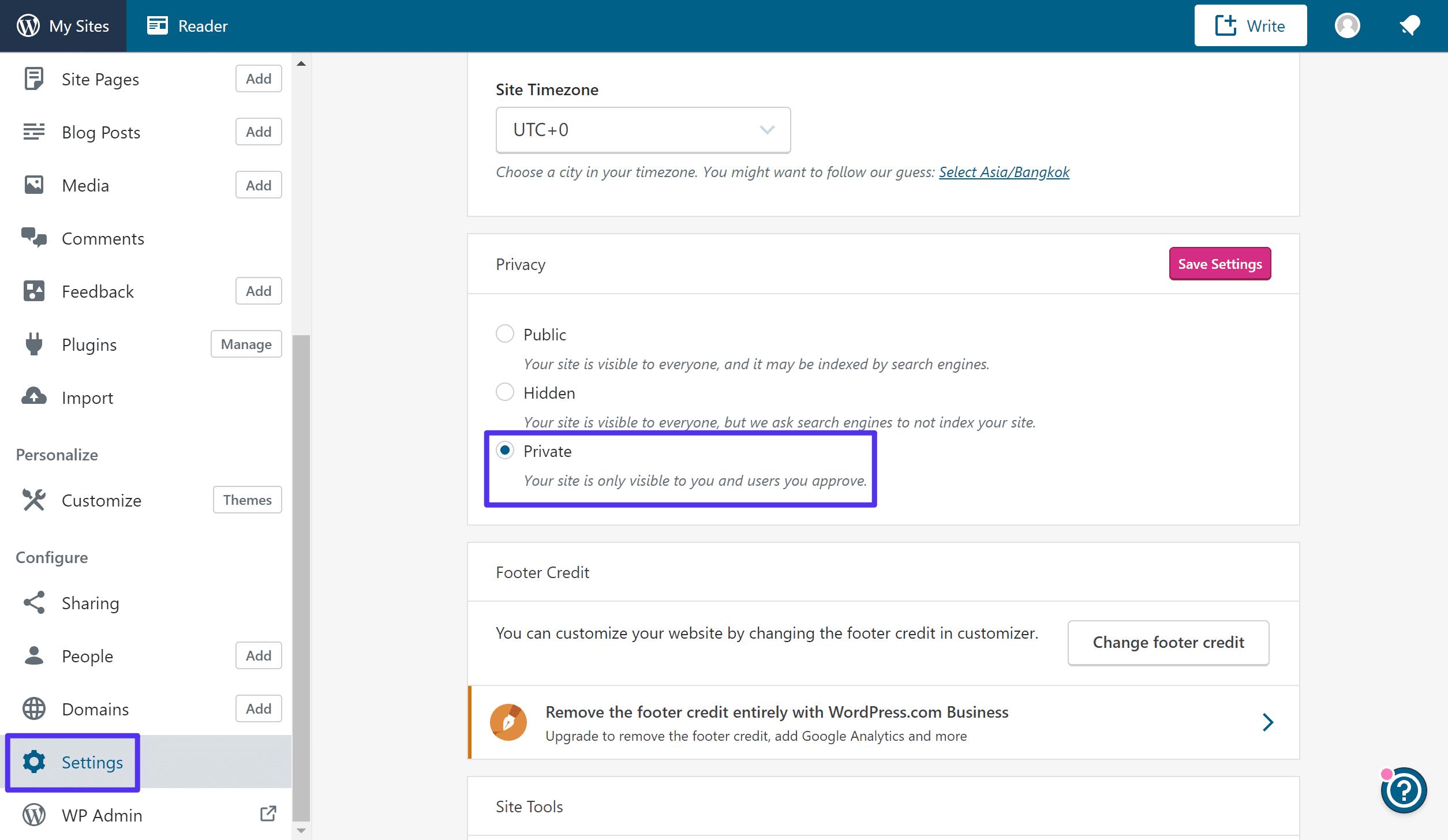 Come rendere privato il sito WordPress.com