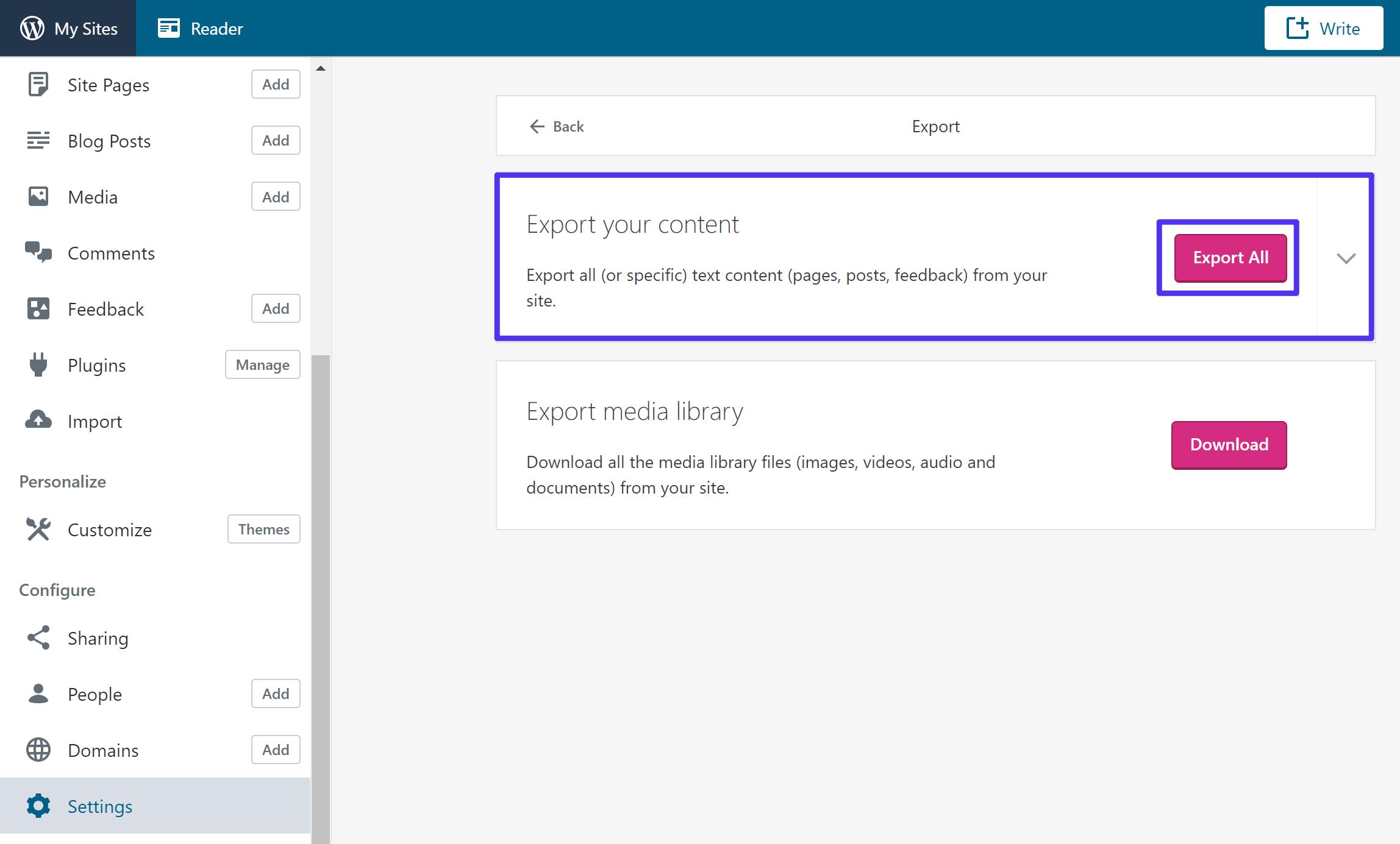 Esportare il contenuto da WordPress.com