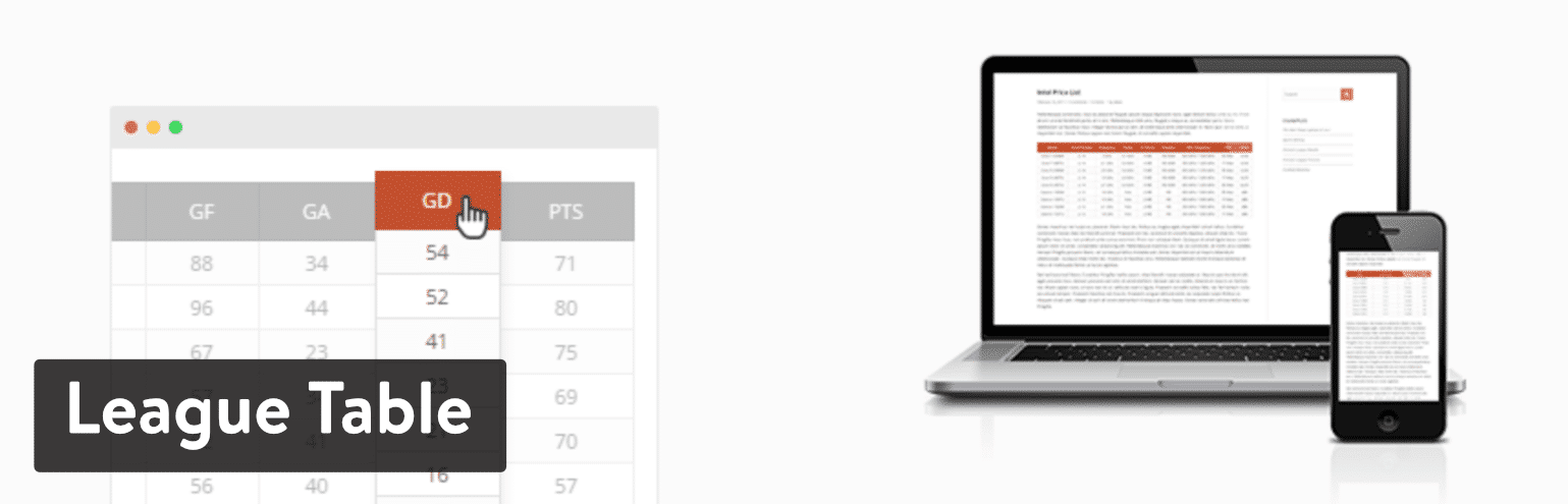 Il plugin di WordPress League Table