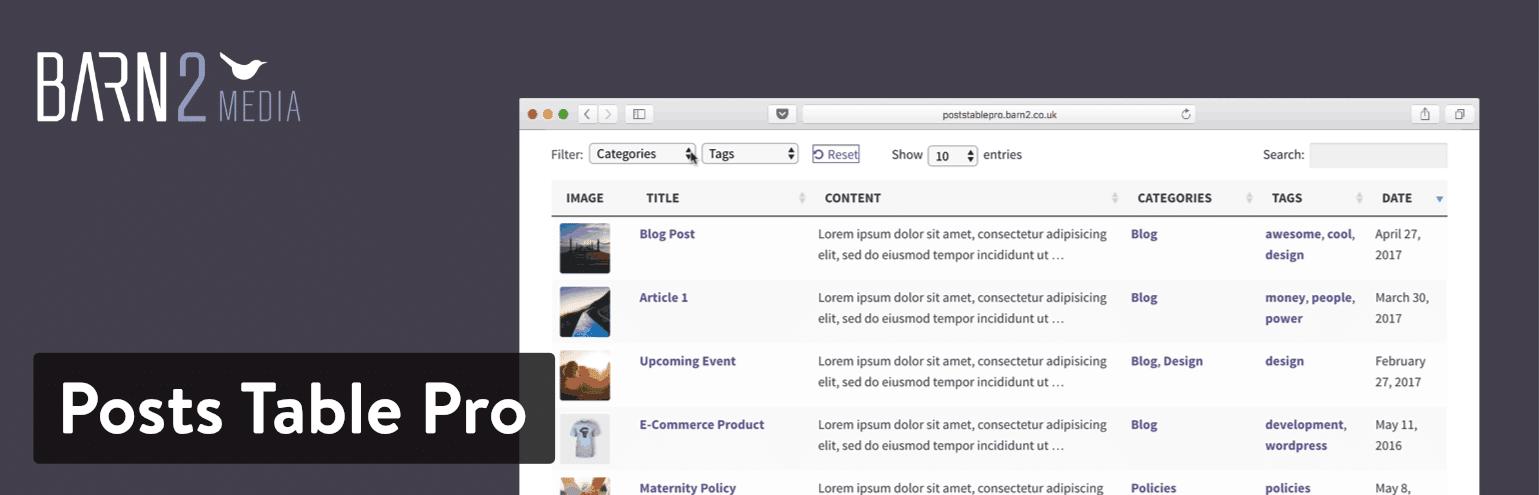 Il plugin di WordPress Posts Table Pro