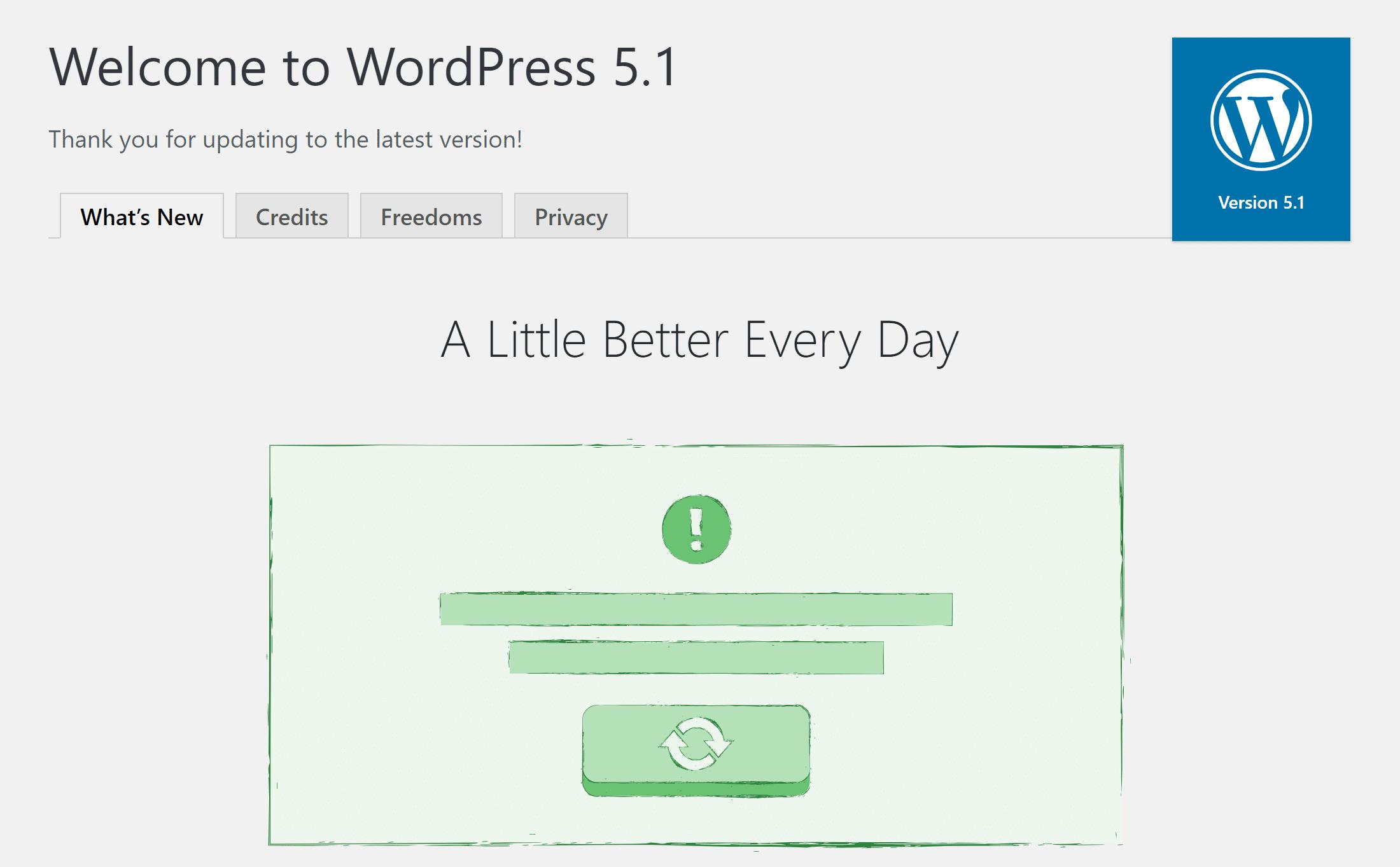 La schermata di benvenuto in WordPress 5.1
