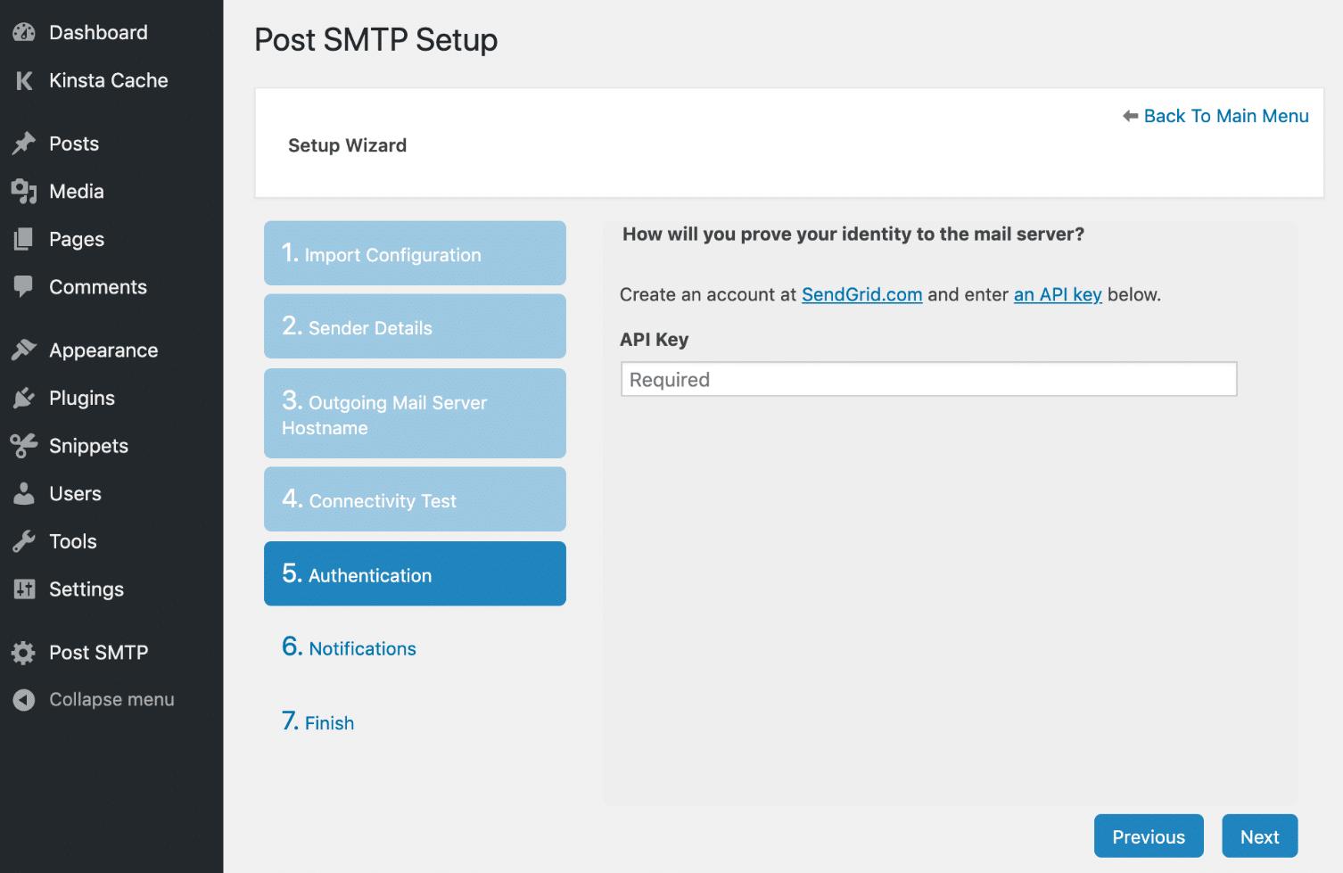 Chiave API SendGrid in Post SMTP