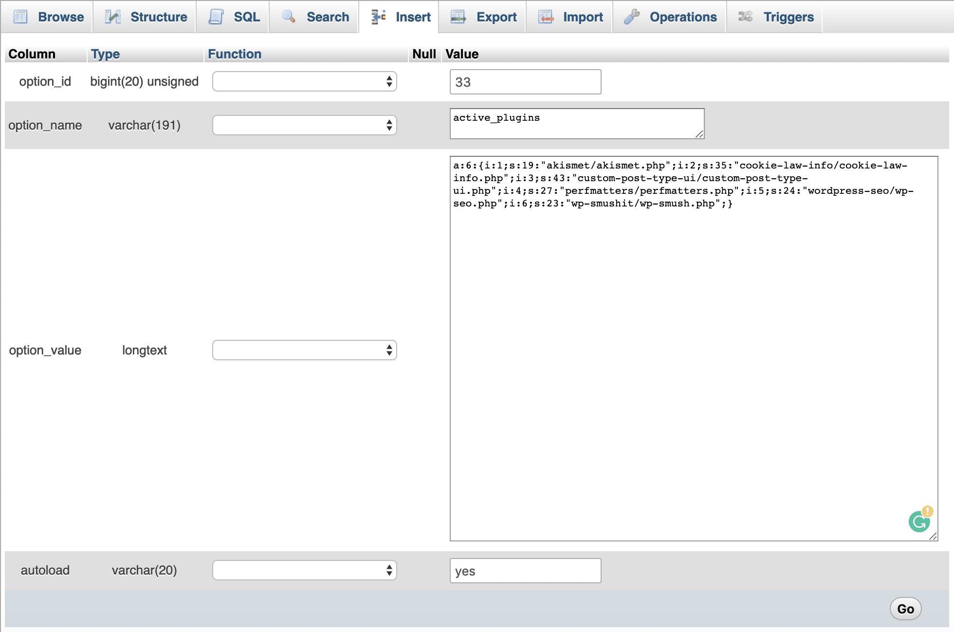 I plugin attivi nella tabella wp_options