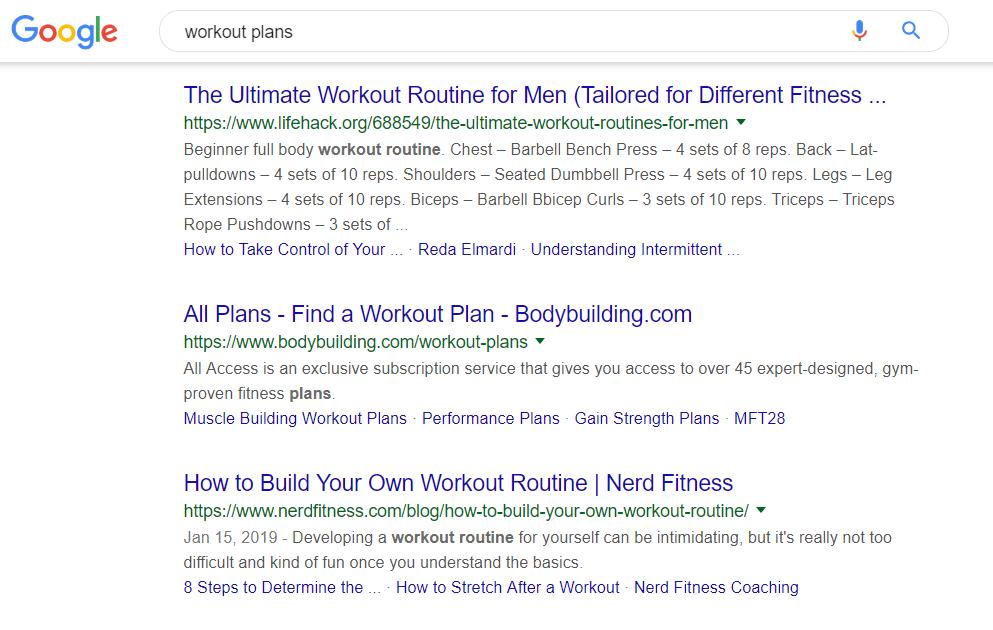 Ricerca Google per programmi di workout