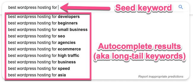 Autocompletamento keyword di coda-lunga
