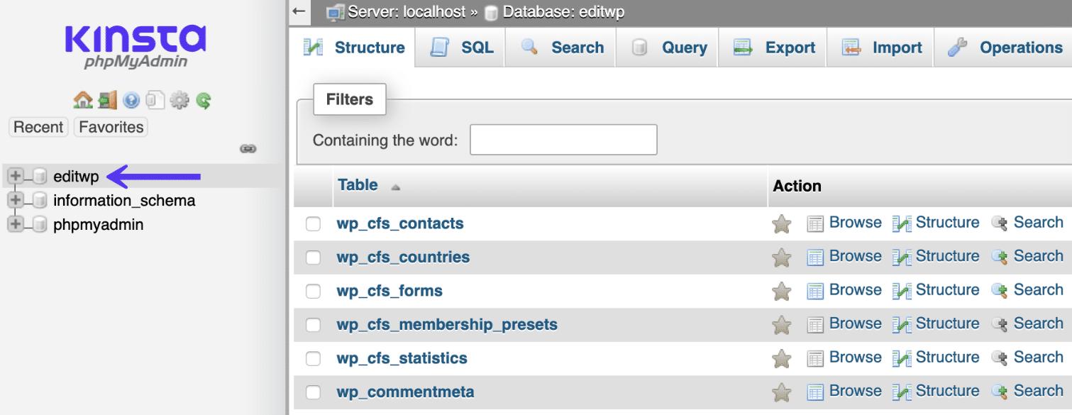 Il database di WordPress in phpMyAdmin
