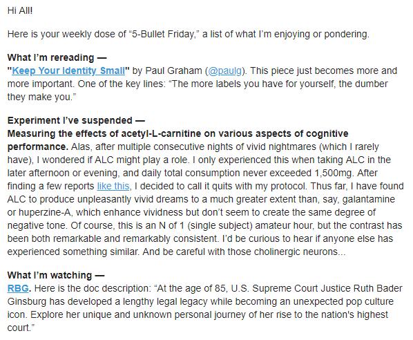Esempio di formattazione dell'email di 5-Bullet Friday