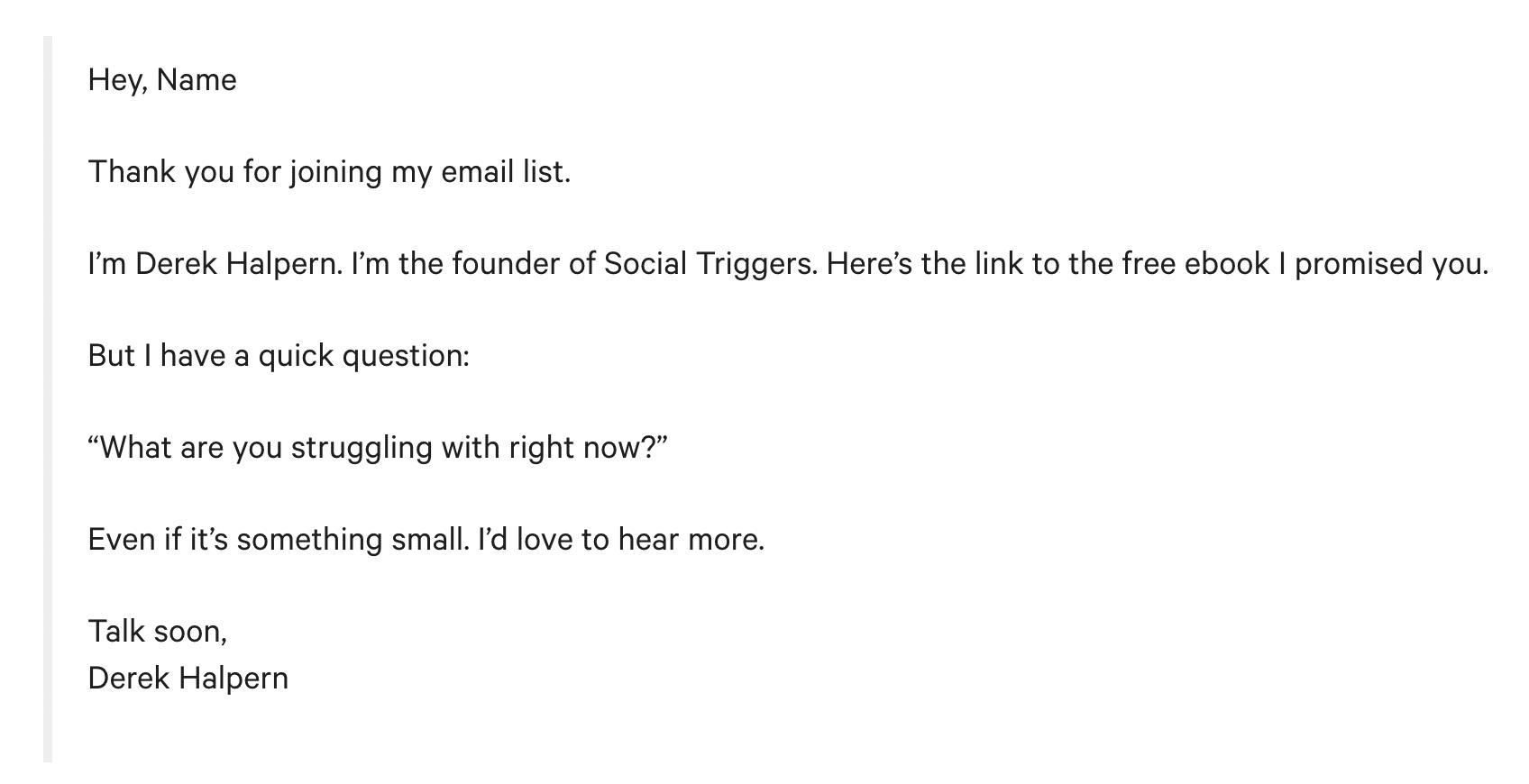 Esempio di email di benvenuto di Mailchimp